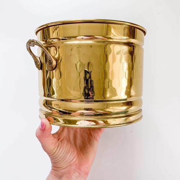Vintage Brass Gold Canister Planter